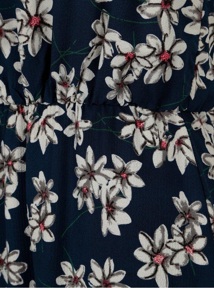 Tmavě modré květované maxišaty s rozparky Mela London
