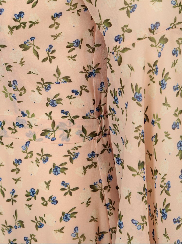 Světle růžové květované maxišaty se zvonovými rukávy Mela London