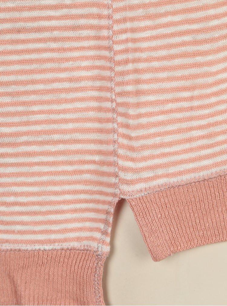 Krémovo-růžové lněné tričko s dlouhým rukávem Yesre