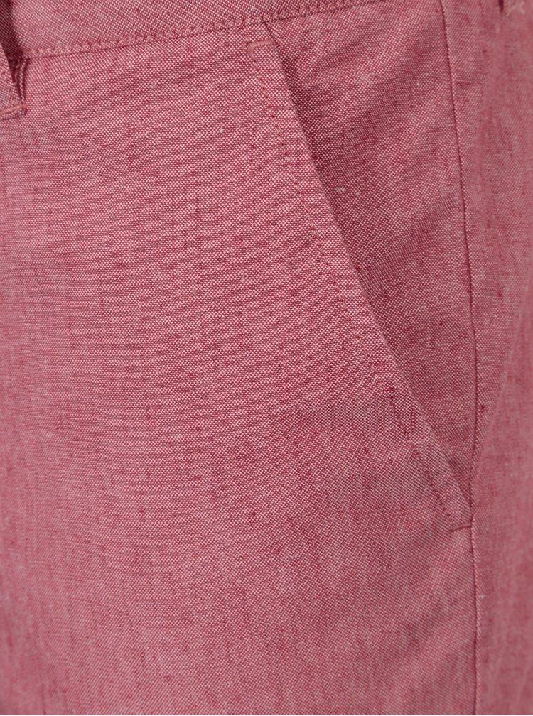 Růžové pánské chino kraťasy s příměsí lnu Farah Hawk