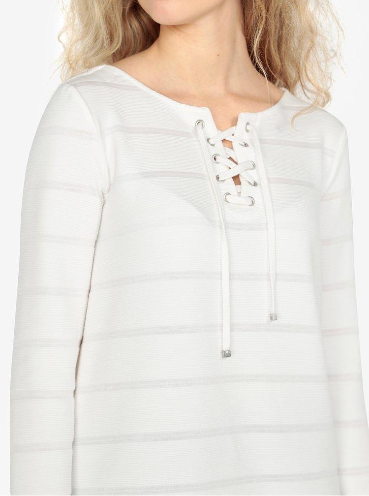 Krémové dámské oversize tričko se šněrováním ve výstřihu s.Oliver