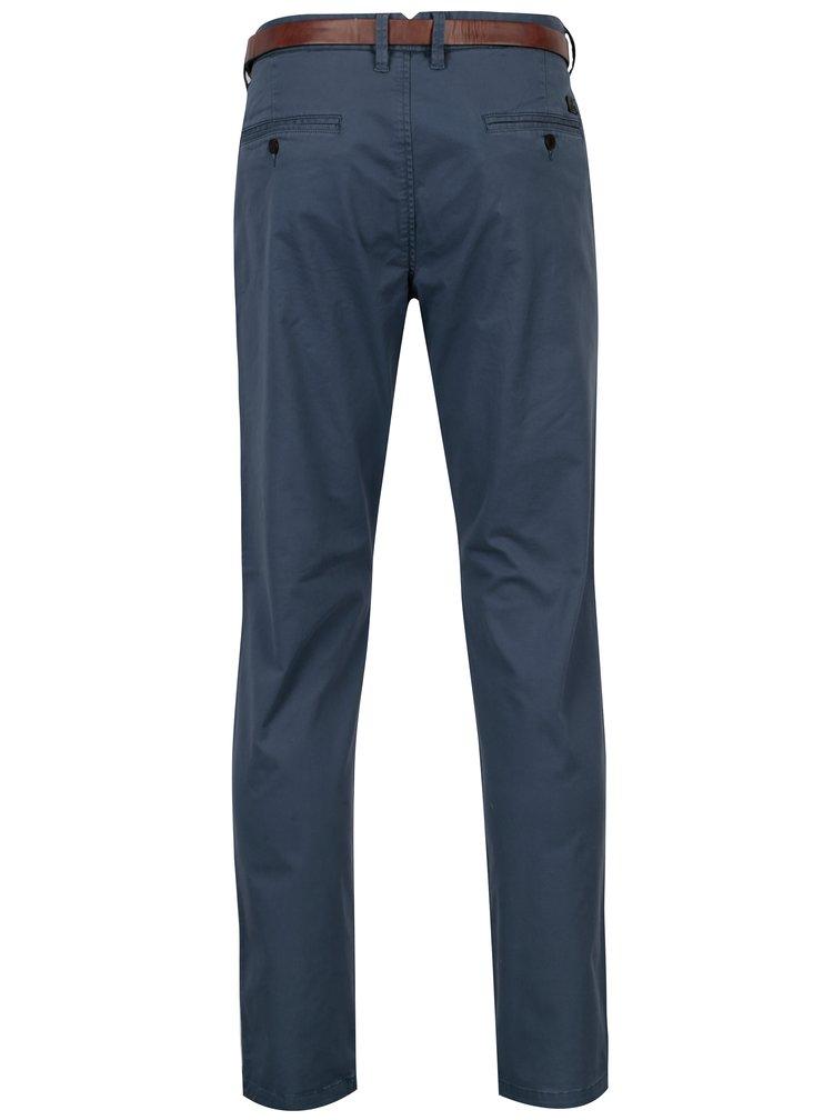 Modré žíhané chino kalhoty s páskem Jack & Jones Spencer