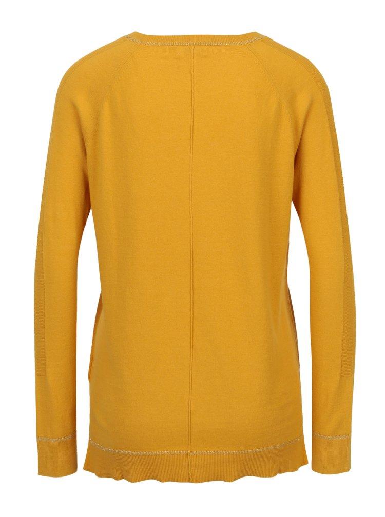 Hořčicový lehký svetr s prodlouženým zadním dílem Yerse