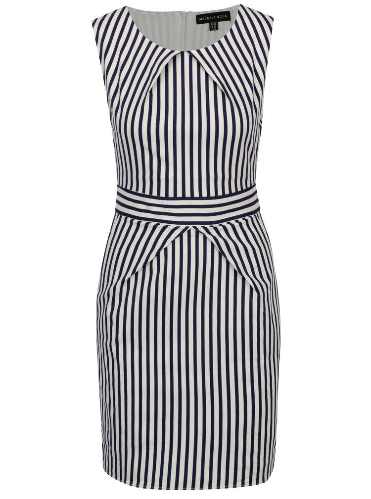 Modro-bílé pruhované šaty s páskem Mela London