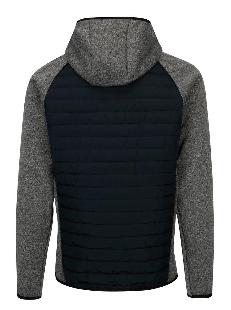 Šedá prošívaná bunda s kapucí Jack & Jones Multi Quilted