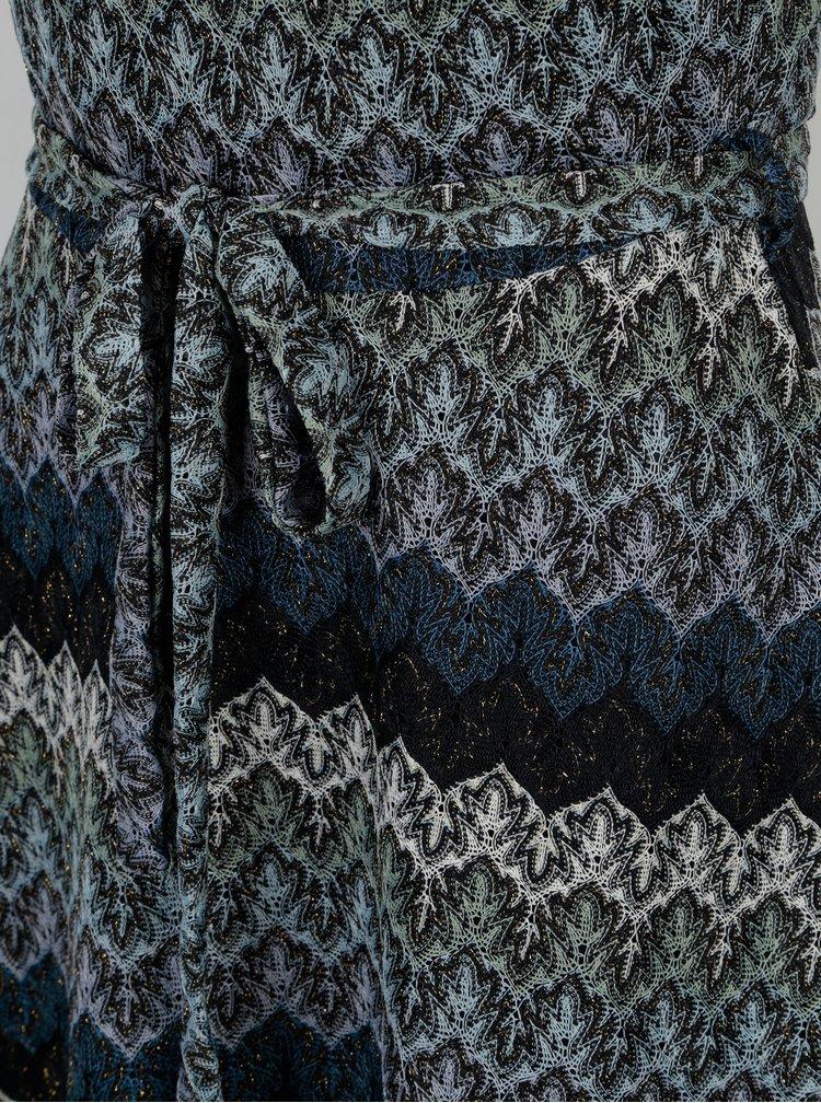 Tmavě modré vzorované šaty se zavazováním Mela London