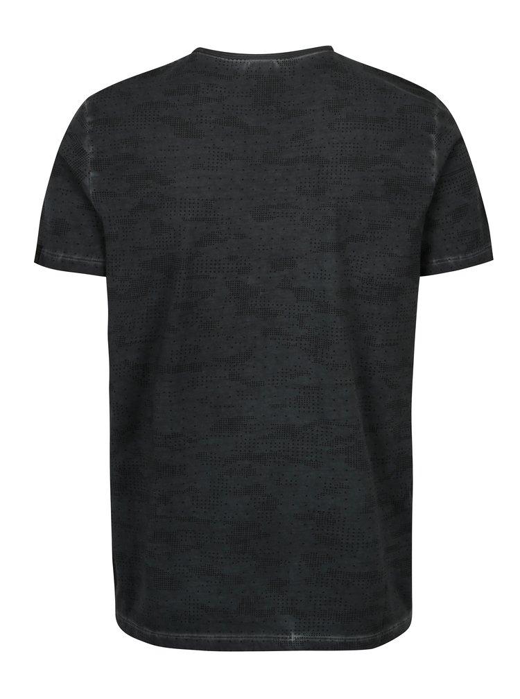 Tmavě šedé pánské vzorované slim fit tričko s.Oliver