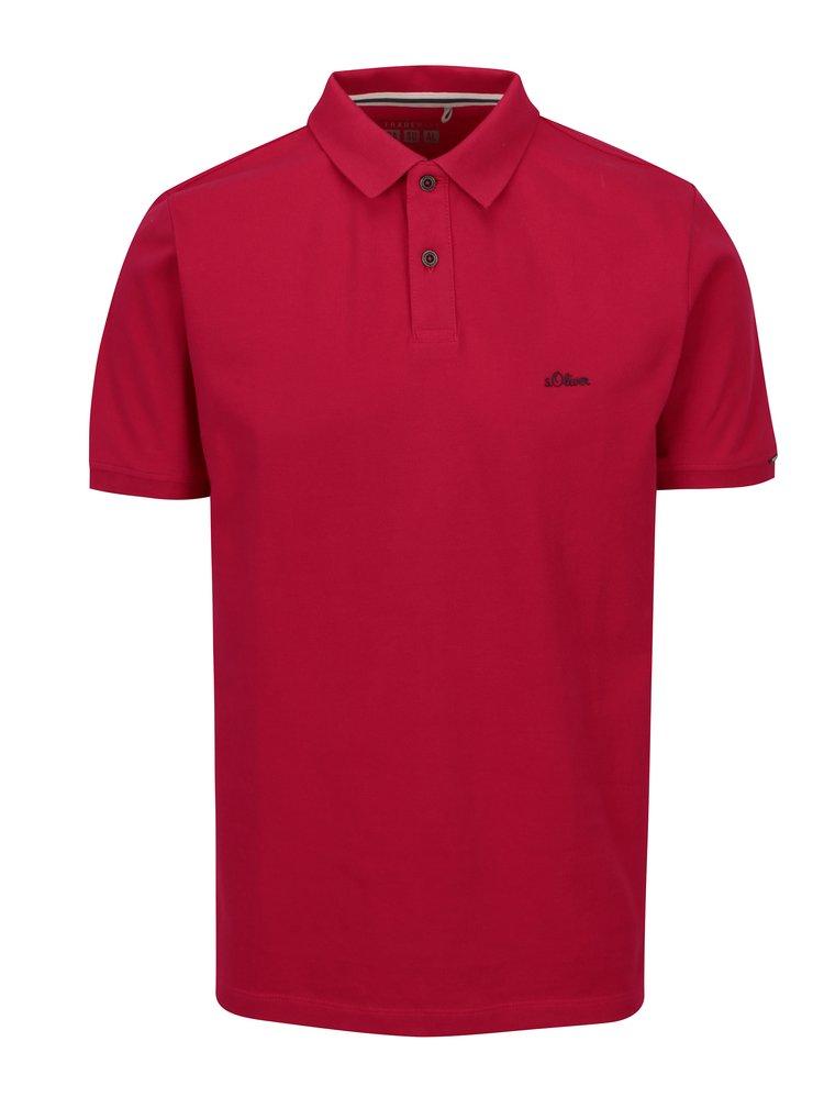 Růžové pánské regular fit polo tričko s výšivkou loga s.Oliver