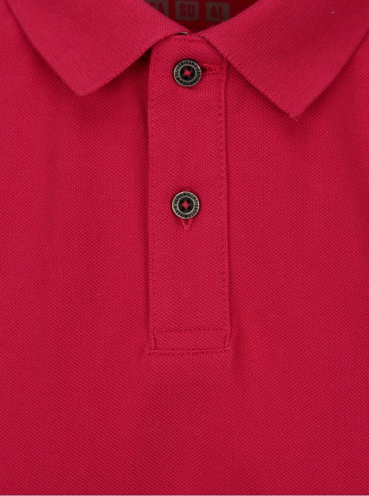 Ružová pánska regular fit polokošeľa s výšivkou loga s.Oliver