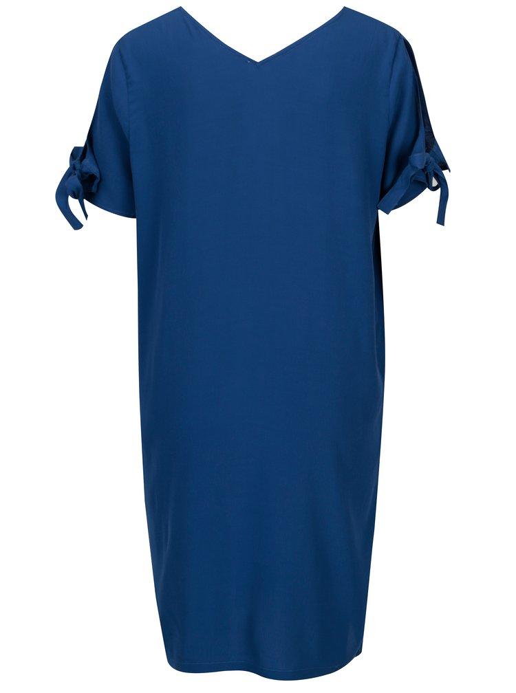 Modré šaty s véčkovým výstřihem Yerse