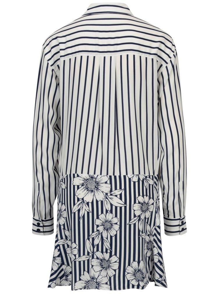 Modro-bílá pruhovaná košile se zavazováním Yesre