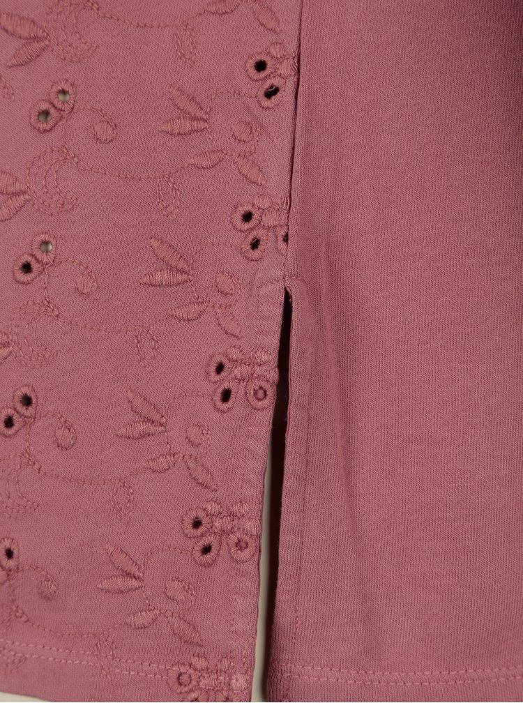 Růžová mikina s výšivkou Yesre