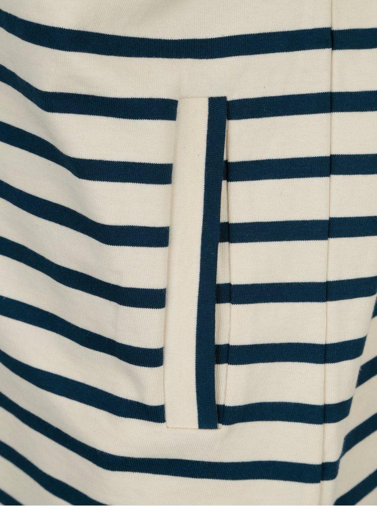 Modro-krémové pruhované mikinové sako Yerse