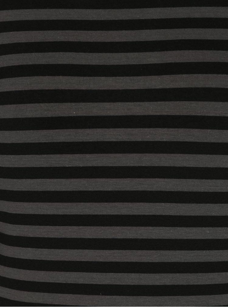 Šedo-černé dámské pruhované basic tričko s dlouhým rukávem Garcia Jeans