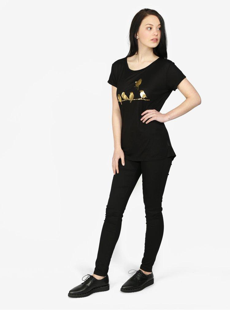 Černé triko s krátkým rukávem a potiskem ve zlaté barvě Haily's Sparrow