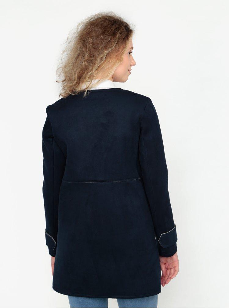 Tmavě modrý kabát v semišové úpravě ZOOT