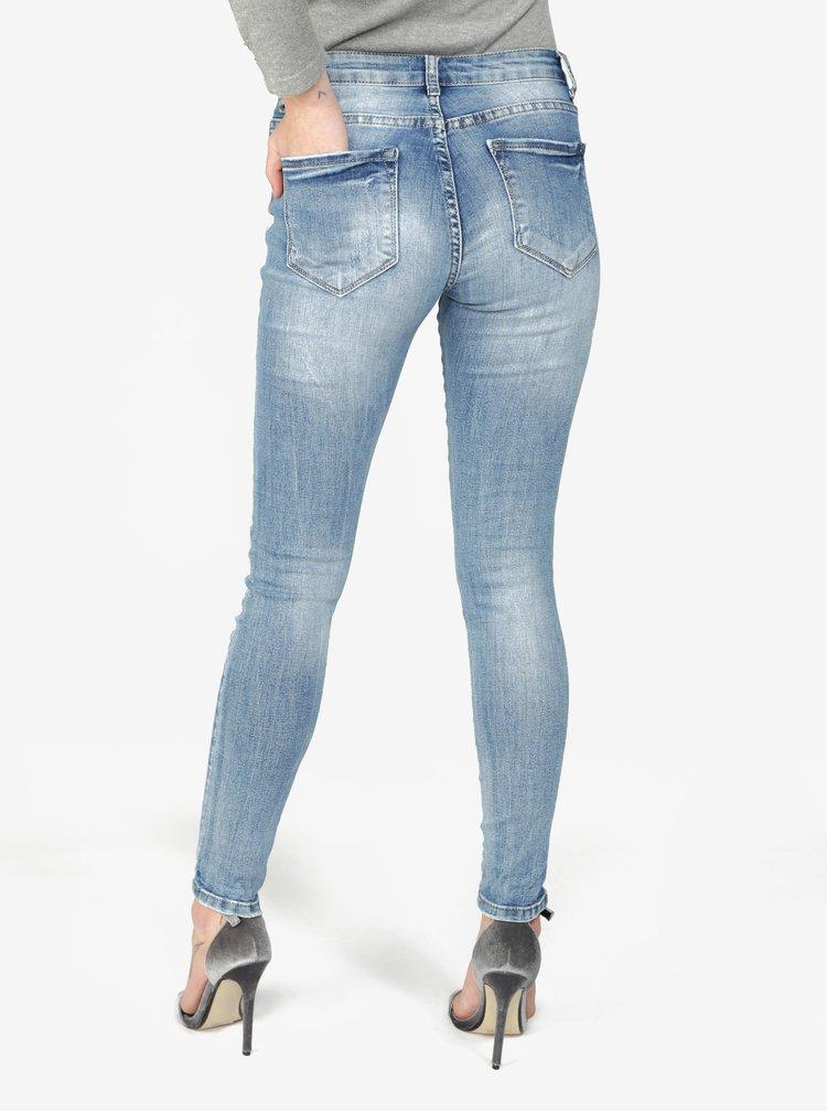 Modré skinny džíny s potrhaným efektem  Haily's Ava