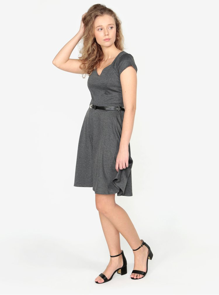 Tmavě šedé žíhané šaty s páskem ZOOT