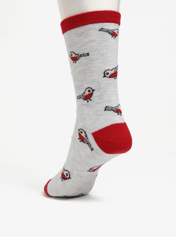 Červeno-šedé ponožky s motivem ptáčat Oasis Robin
