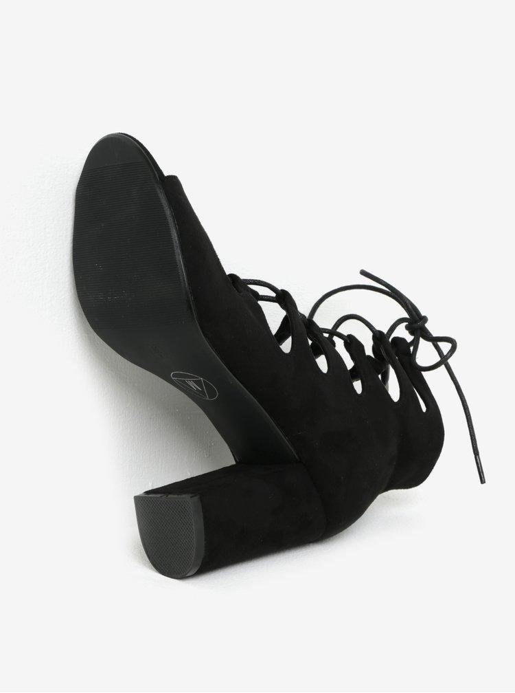Černé kotníkové sandálky na podpatku se šněrováním MISSGUIDED