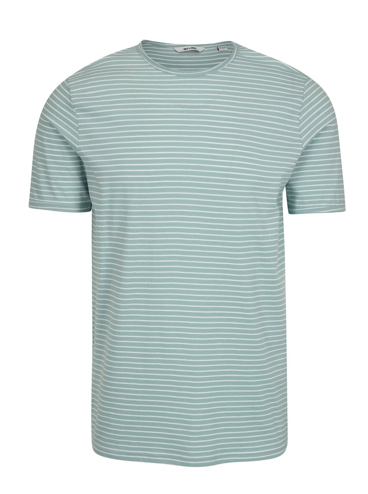 Tricou verde deschis in dungi - ONLY & SONS Albert Stripe