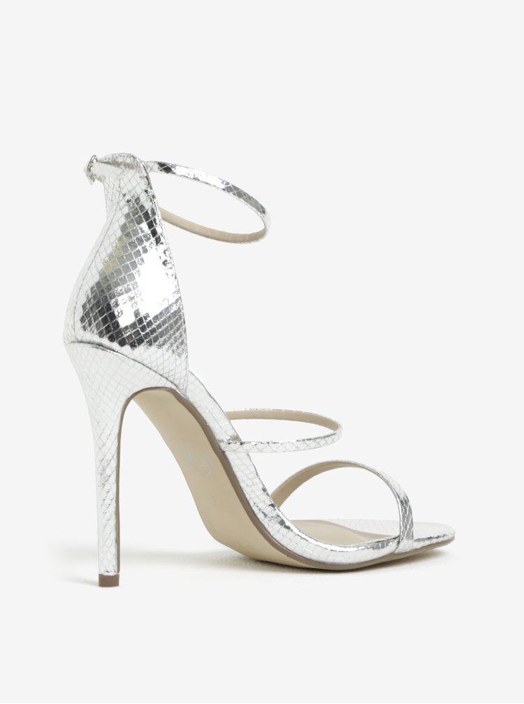 Sandálky na vysokém podpatku ve stříbrné barvě MISSGUIDED