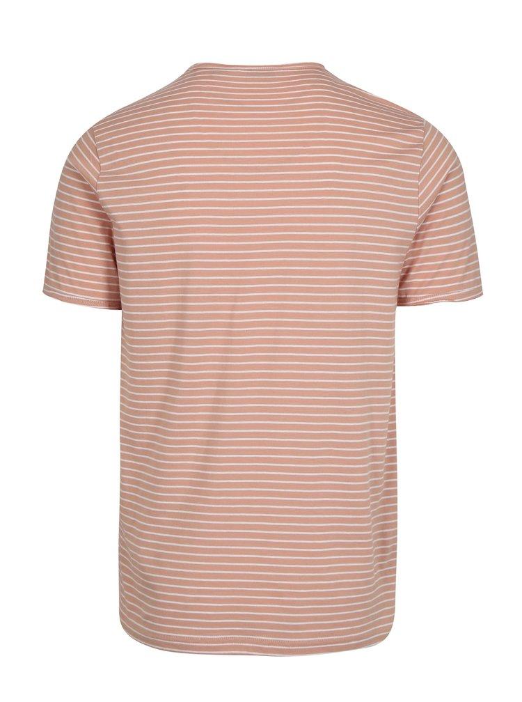 Krémovo-růžové pruhované tričko ONLY & SONS Albert Stripe