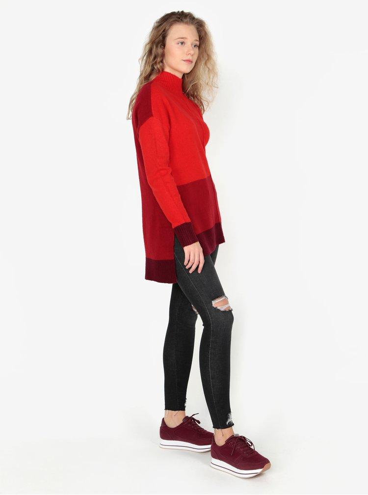 Červený dlouhý oversize svetr s rozparky na bocích Oasis Funnel