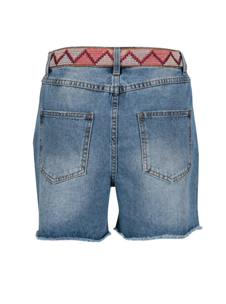Modré džínové kraťasy s vysokým pasem VILA Jules