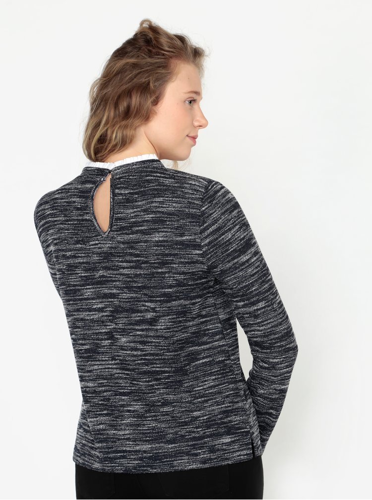 Bluza bleumarin cu volane la guler Oasis Tweed