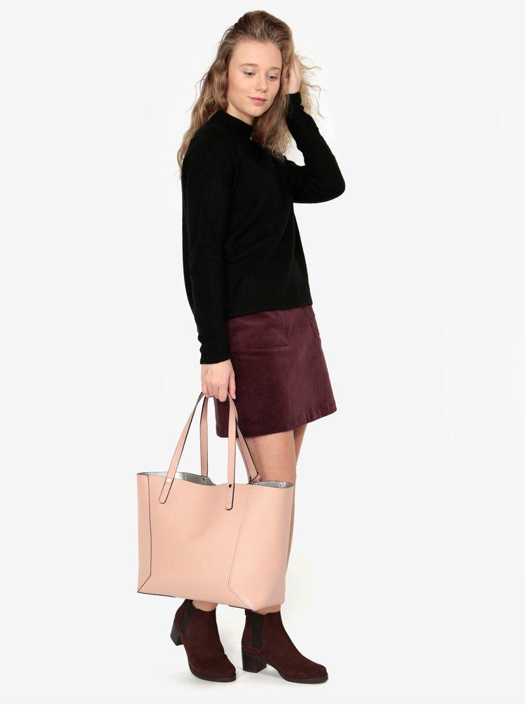 Starorůžový oboustranný shopper s pouzdrem 2v1 Miss Selfridge