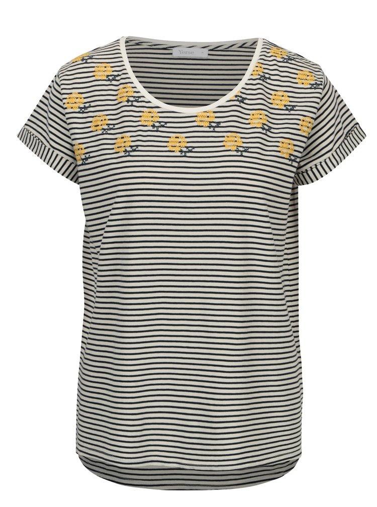Krémovo-modré pruhované tričko s krátkým rukávem Yerse