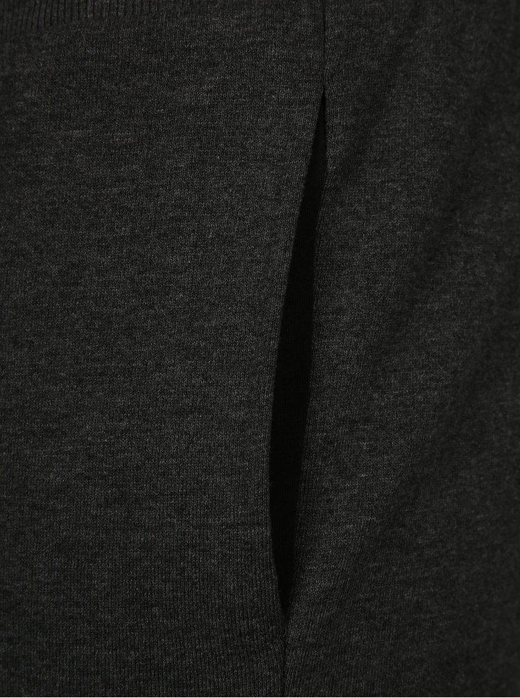 Tmavě šedé žíhané teplákové kraťasy Jack & Jones Houston