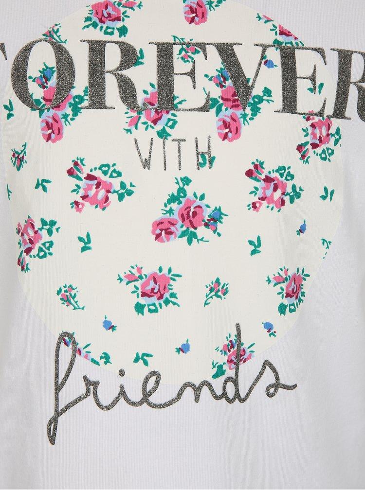 Bílé holčičí tričko s třpytivým nápisem name it Ivalaiane
