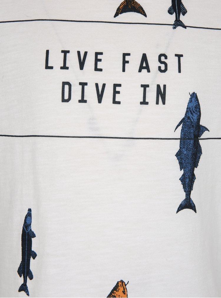 Bílé klučičí tričko s potiskem ryb name it Ibrahim