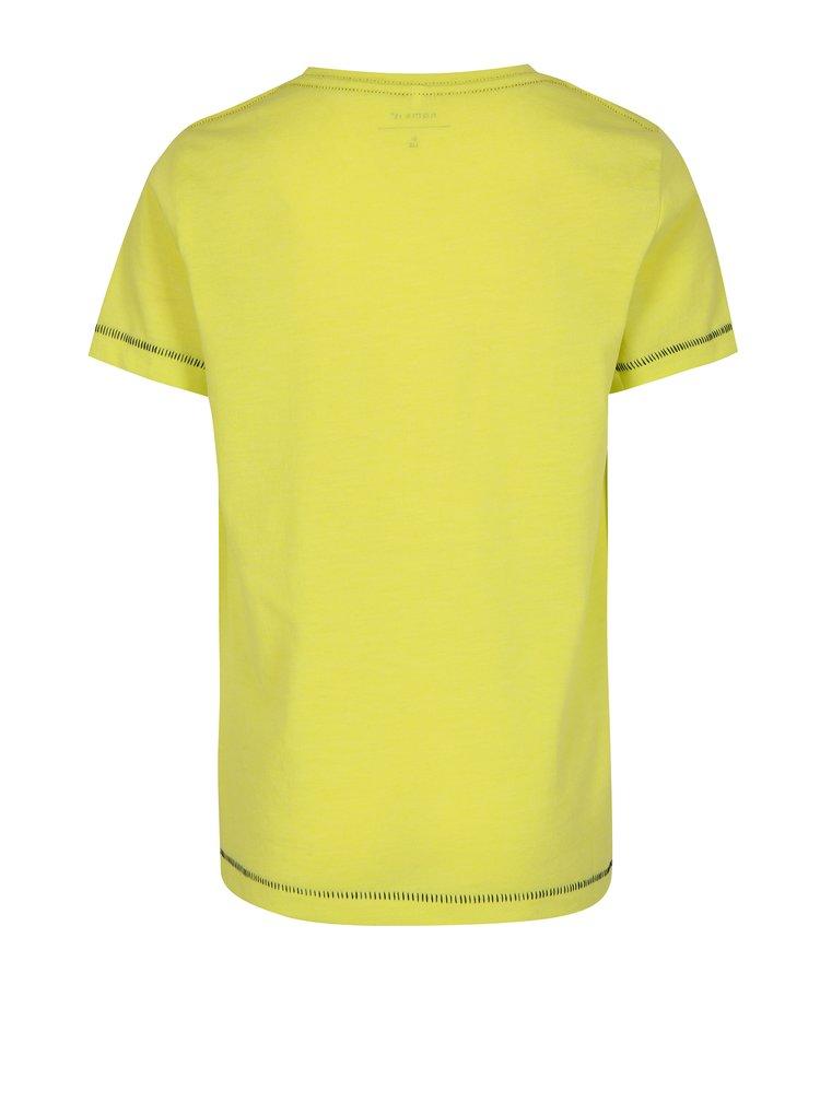 Neonově žluté klučičí tričko s potiskem name it Zommy