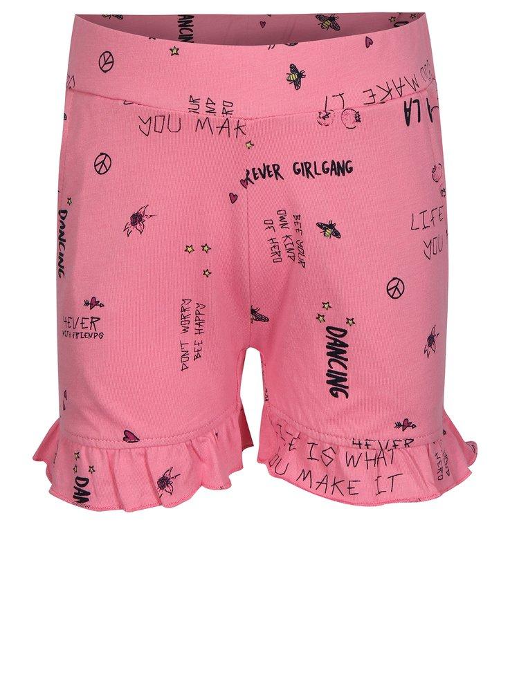 Růžové holčičí vzorované kraťasy name it Vigga