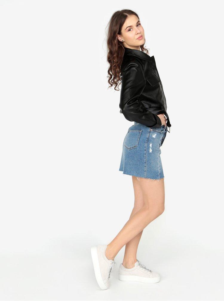 Černá koženková crop bunda s ozdobnými cvočky na zádech MISSGUIDED Barbie