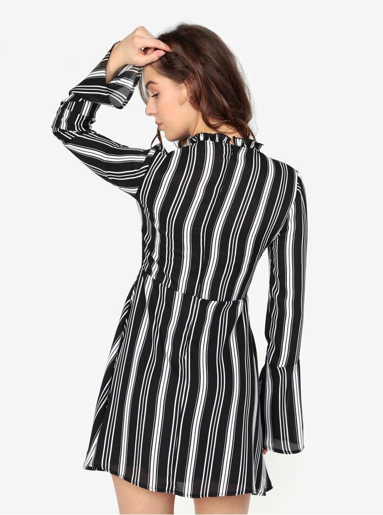 Rochie alb & negru cu print in dungi - MISSGUIDED