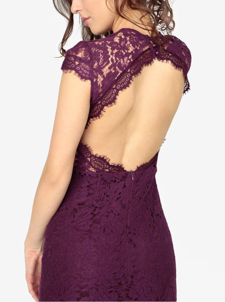 Fialové krajkové šaty s holými zády MISSGUIDED
