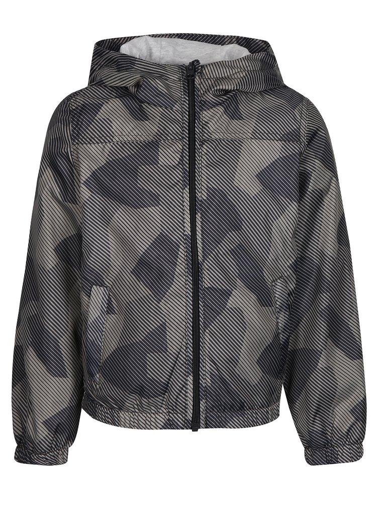 Šedá klučičí vzorovaná bunda s kapucí name it Mix