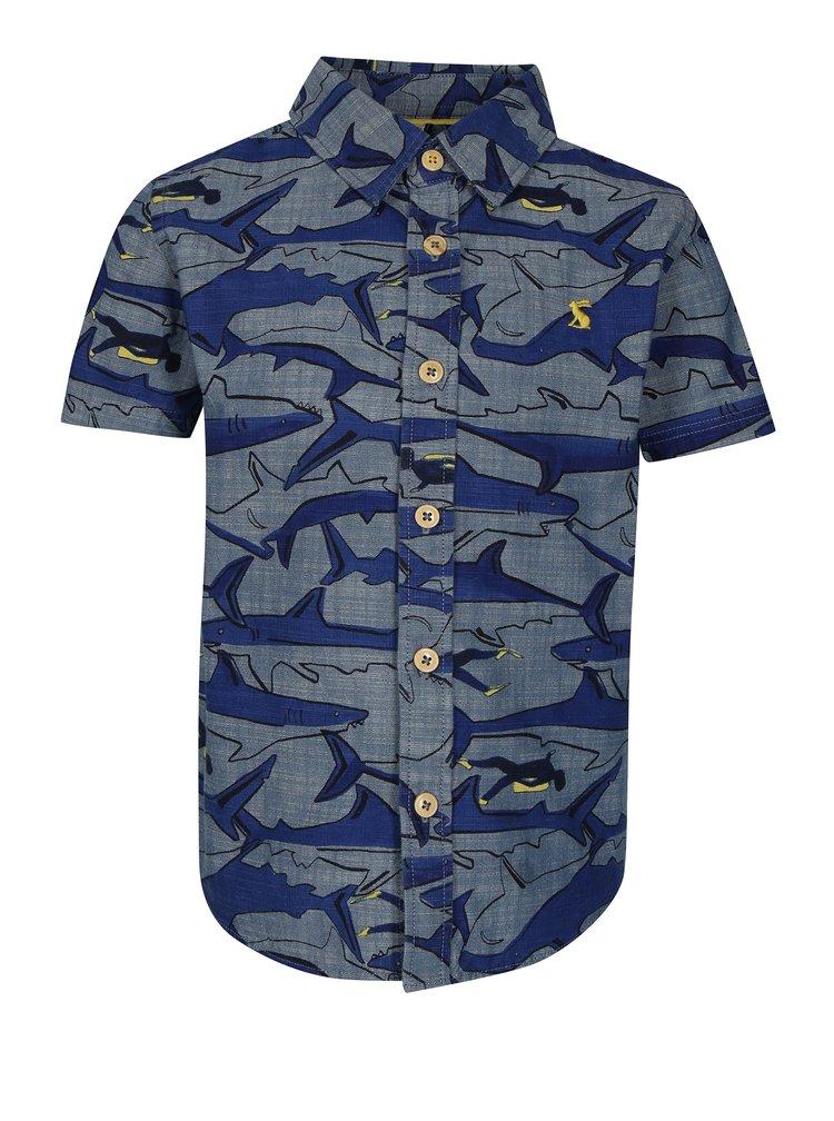 Tmavě modrá klučičí košile s potiskem žraloků Tom Joule