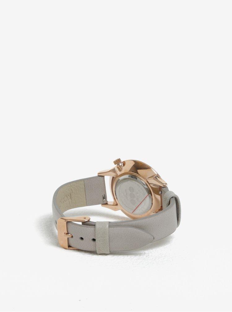Dámské hodinky v růžovozlaté barvě s koženým páskem Komono Estelle