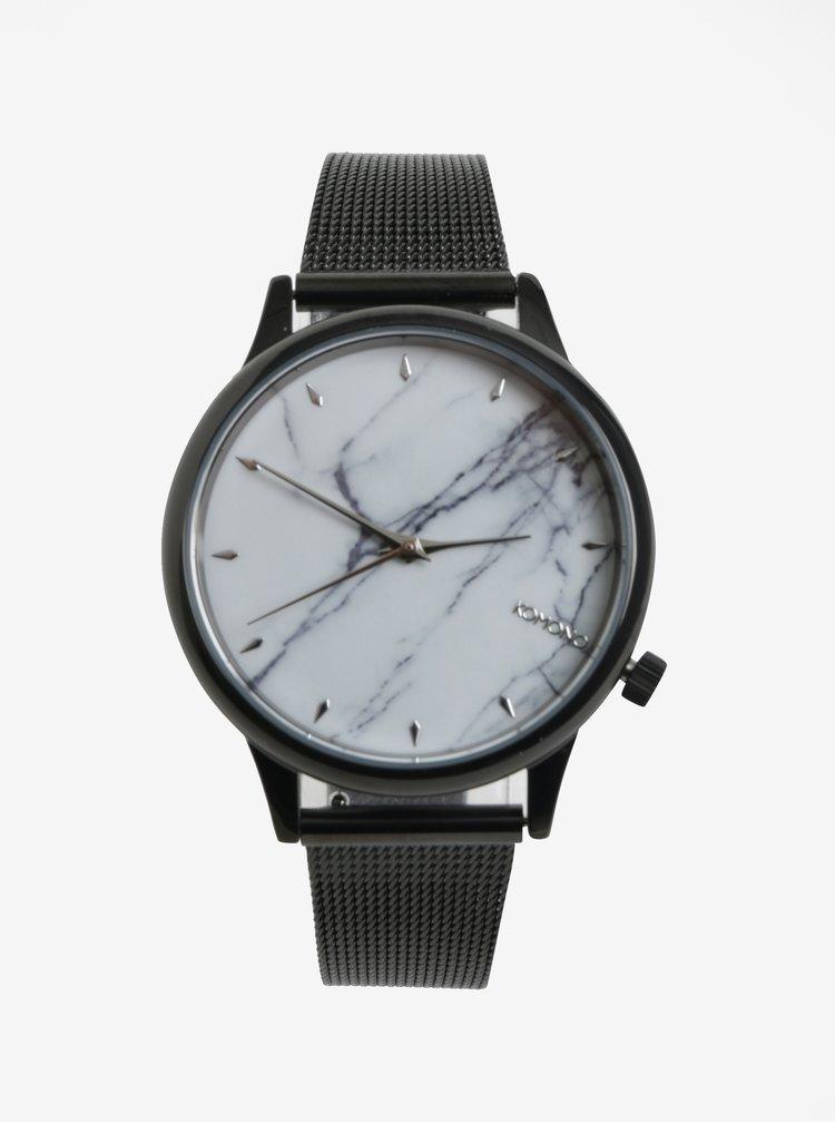 Bílo-černé dámské hodinky s kovovým páskem Komono Estelle Royale