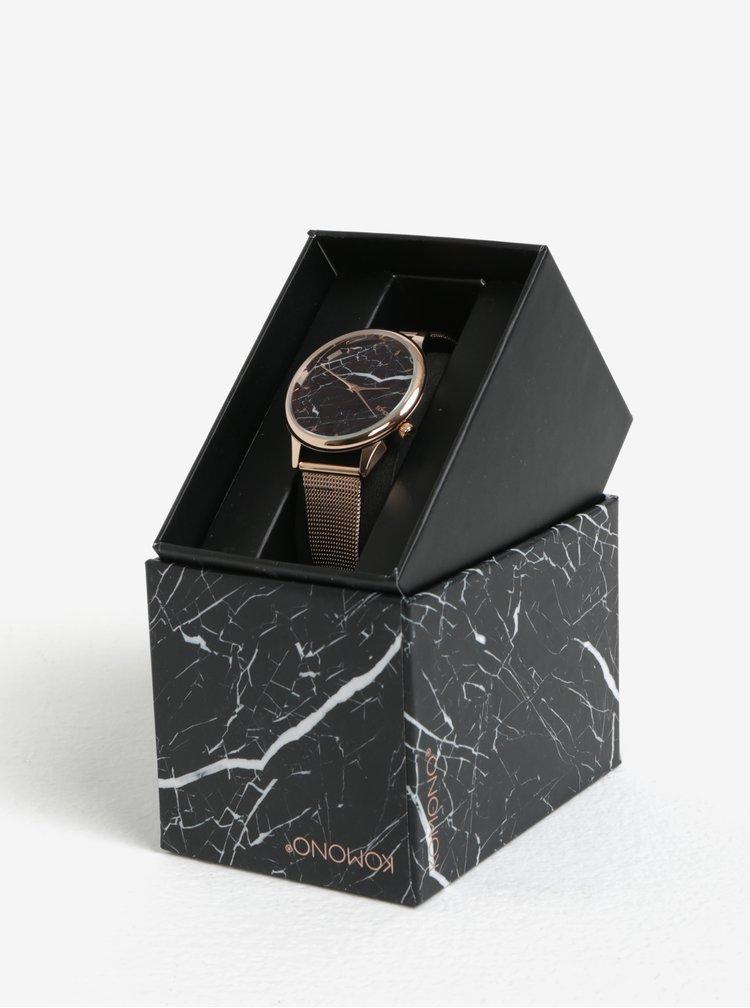 Dámské hodinky v růžovozlaté barvě s kovovým páskem Komono Estelle Royale