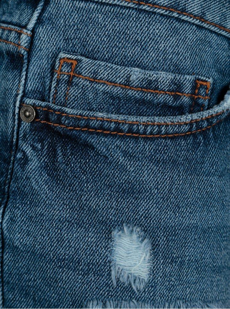 Modré rifľové kraťasy s rozstrapkanými lemami Noisy May Fran