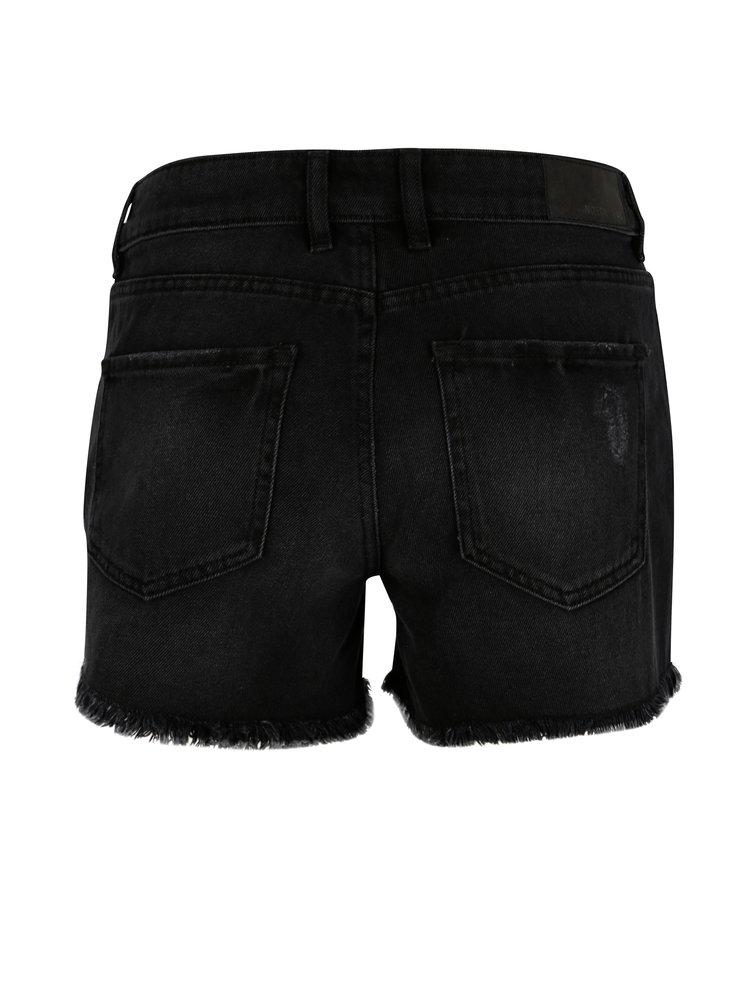 Černé džínové kraťasy s roztřepenými lemy Noisy May Fran