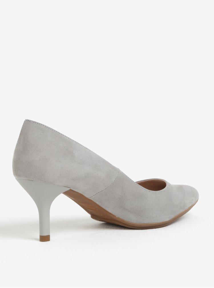 Pantofi gri cu varf ascutit si toc inalt -  OJJU