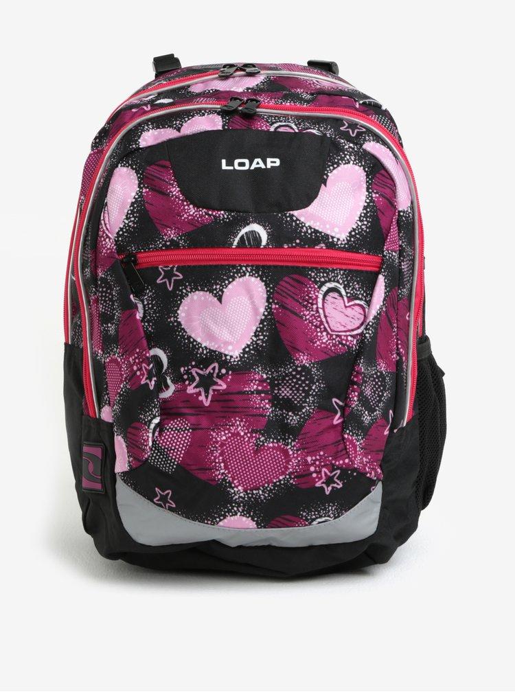 Černo-růžový holčičí vzorovaný batoh LOAP Ellipse 25 l