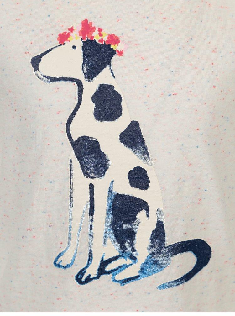 Krémové holčičí žíhané tričko s potiskem dalmatina Tom Joule